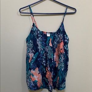 Old navy floral blue tank top